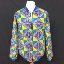Load image into Gallery viewer, Blue/Yellow/Purple African Print Bomber Jacket