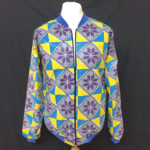 Blue/Yellow/Purple African Print Bomber Jacket - Cerrura Fashions