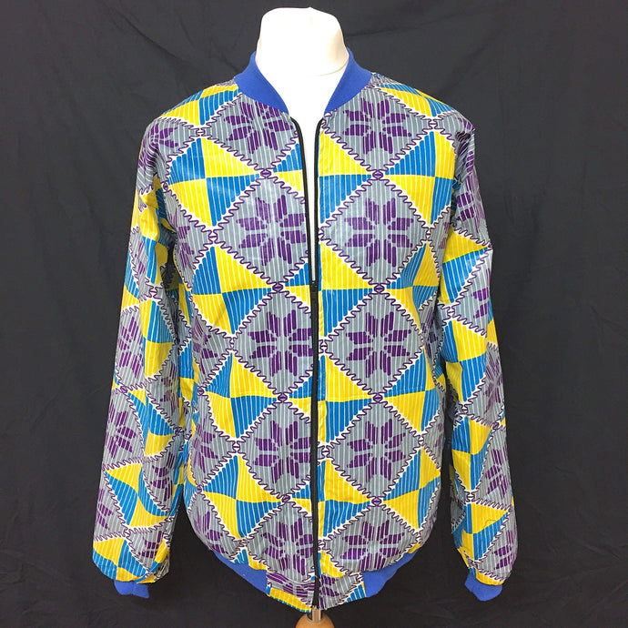Blue/Yellow/Purple African Print Bomber Jacket