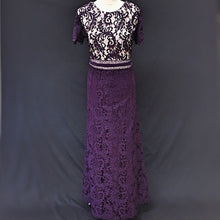 Load image into Gallery viewer, Purple Long Lace Flared Dress and Jacket