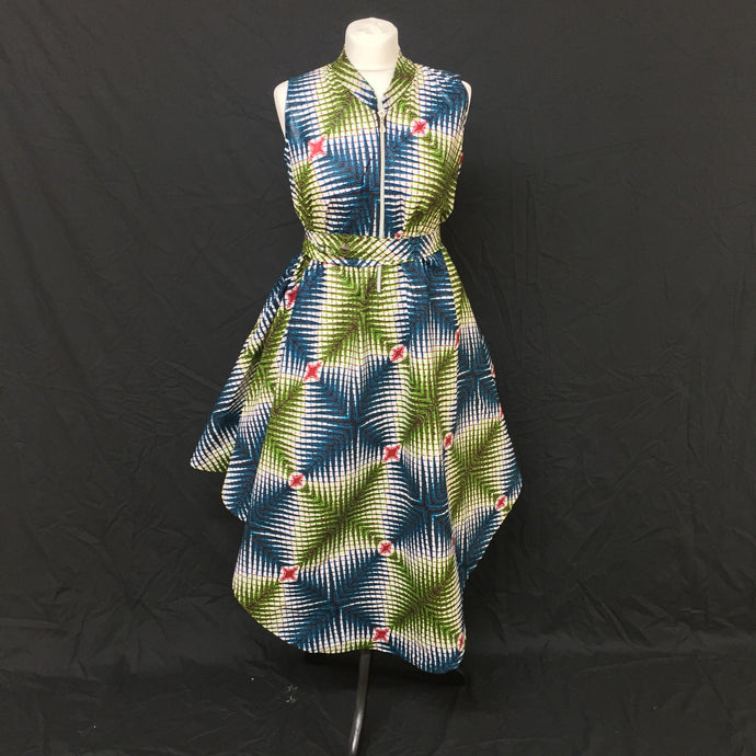 Multi African Print Flared Dress