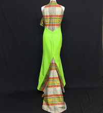 Load image into Gallery viewer, Green African Print Dress With Halter Neck Design and Fishtail
