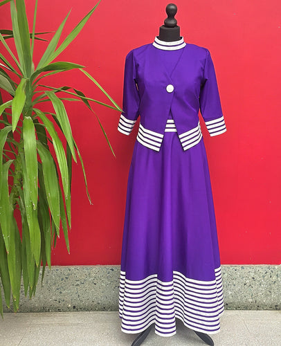 Purple Long African Dress & Jacket - Cerrura Fashions