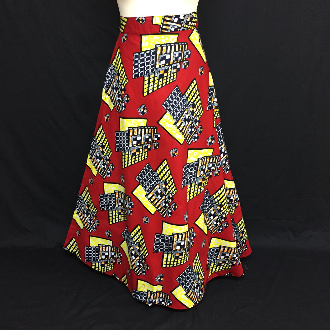 Red African Print Wrap Skirt