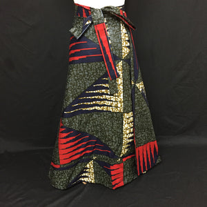 Multi African Print Wrap Skirt