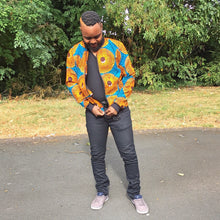 Load image into Gallery viewer, Blue/Yellow/Purple African Print Bomber Jacket - Cerrura Fashions