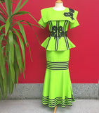 Green and Black Flower African Outfit - Cerrura Fashions