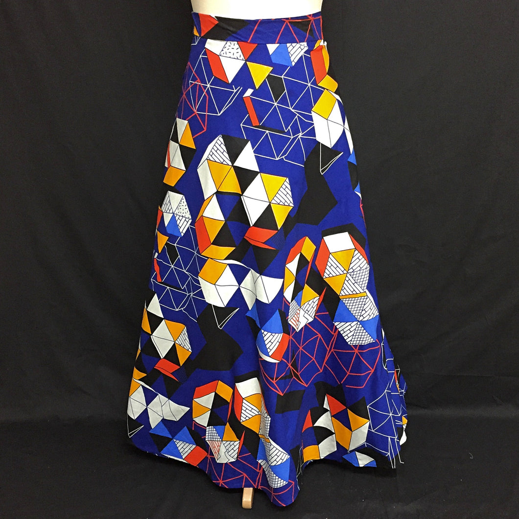 Blue African Print Wrap Skirt