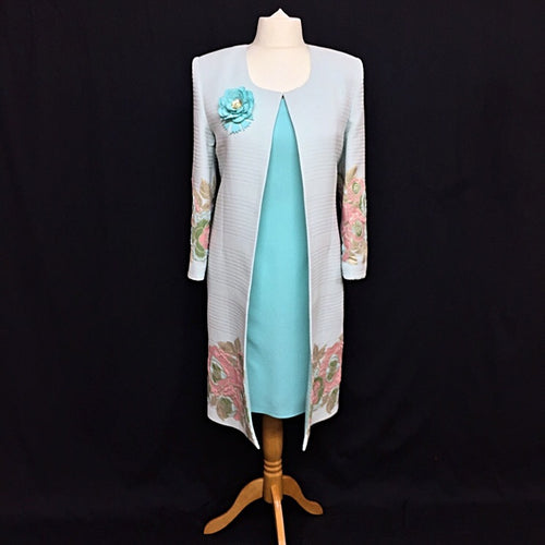 Turquoise Long Floral Mother of the Bride Jacket with a Straight Dress
