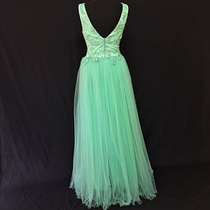 Long Turquoise evening dress with Tulle Ruffles