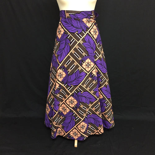 Purple African Print Wrap Skirt - Cerrura Fashions