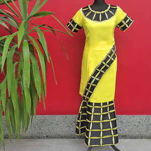 Yellow and black Slanting African Outfit - Cerrura Fashions