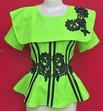 Load image into Gallery viewer, Green and Black Flower African Outfit - Cerrura Fashions
