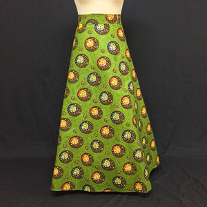 Green African Print Wrap Skirt