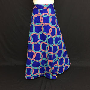 Blue Multi African Print Wrap Skirt