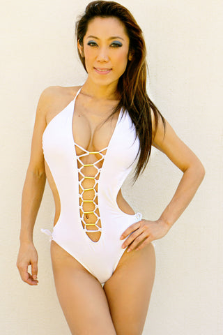 Open Front Lace Up Sexy Monokini
