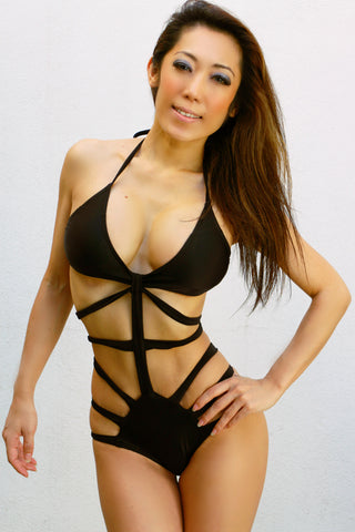 Midriff Criss Cross Cut-away Sexy Bondage Bikini