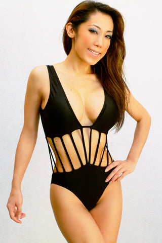 Spiderweb Midriff Open Front One PIece Sexy Monokini