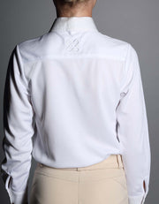 Girls Blue Ribbon White Collared Show Shirt - giddyupgirl horse riding gear & equestrian clothing
