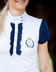 Navy Frilly Filly Competition Shirt - giddyupgirl horse riding gear & equestrian clothing