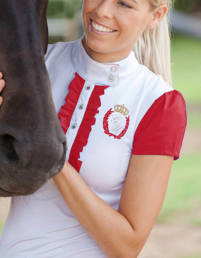 Red Frilly Filly Competition Shirt - giddyupgirl horse riding gear & equestrian clothing