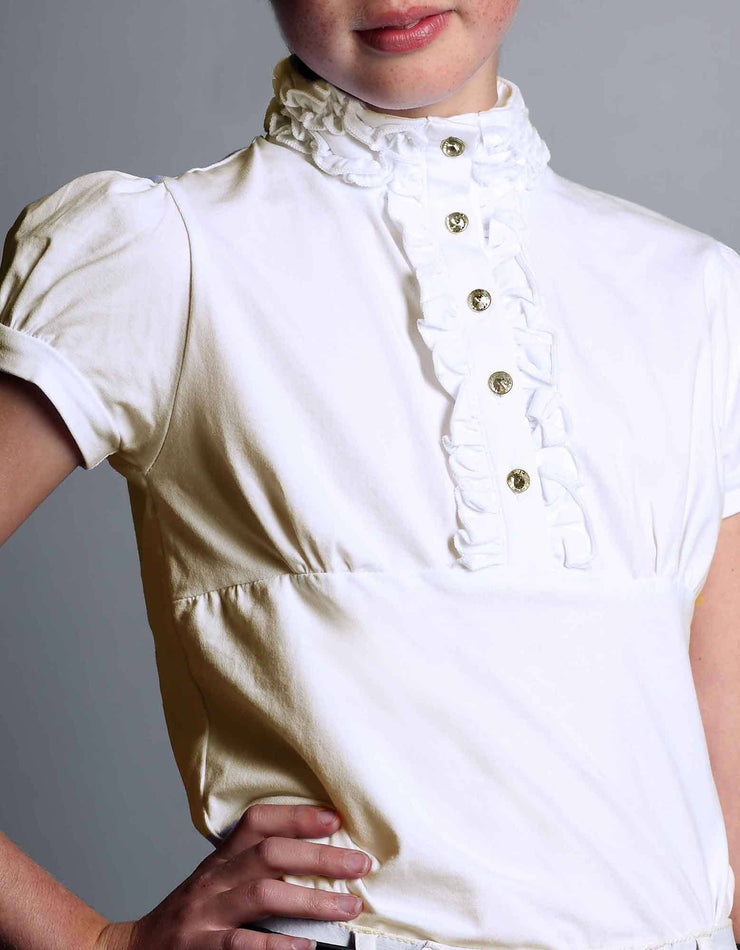 Cream Polly Ruffle Competition Show Shirt - giddyupgirl horse riding gear & equestrian clothing