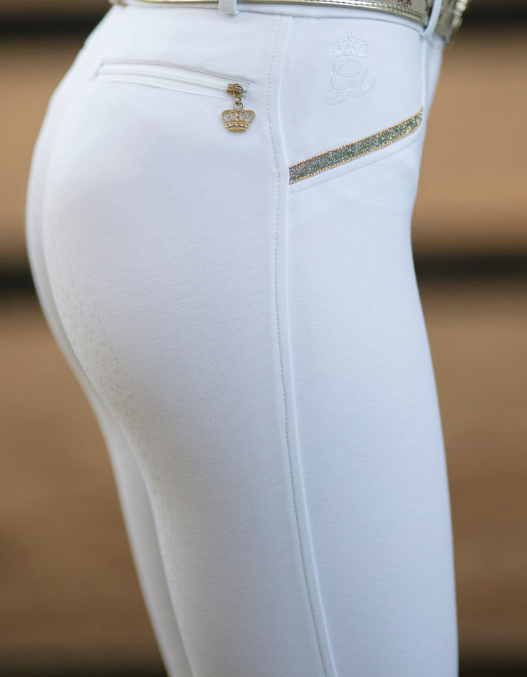 Ladies White Show Riding Breech/Tights with Silicone Seat