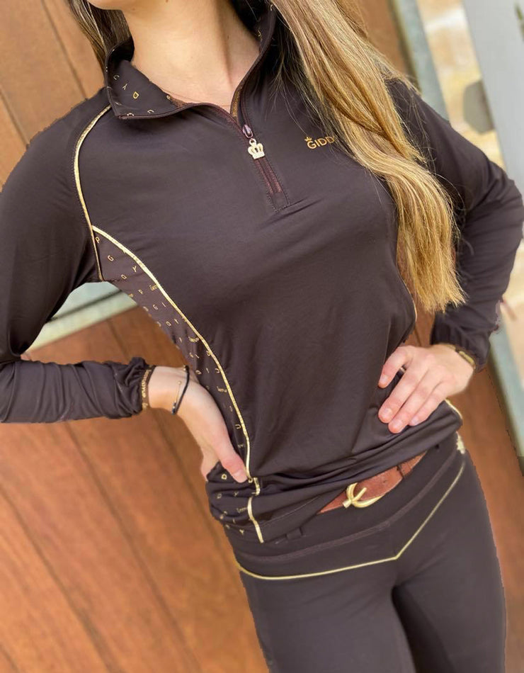 Teen and Ladies Camilla Dark Chocolate and Gold Base Layer
