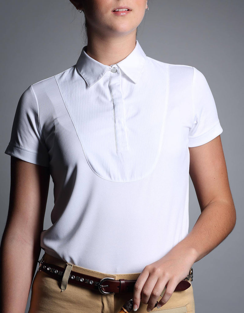 Ladies White Collared Show Shirt - giddyupgirl horse riding gear & equestrian clothing