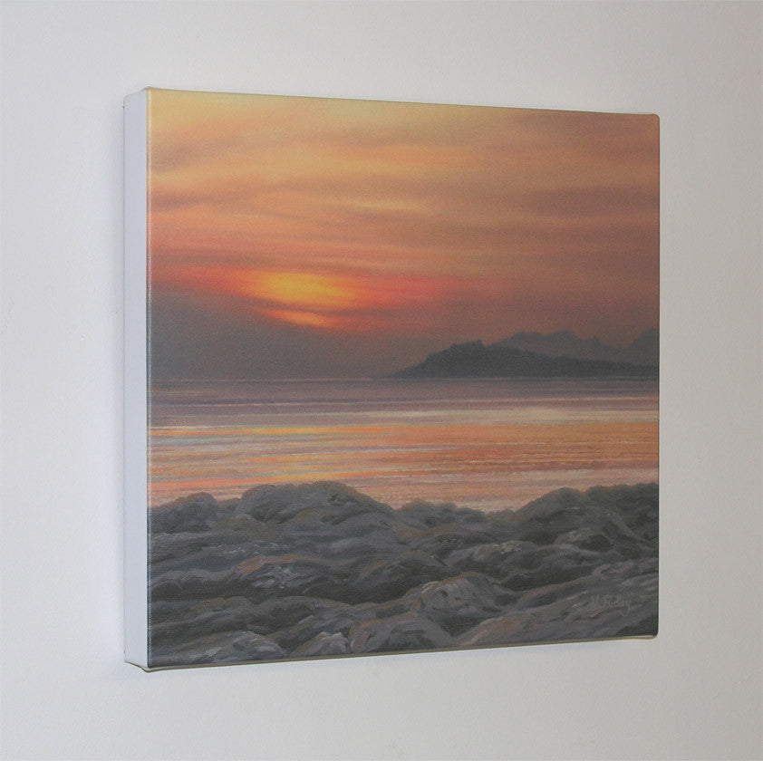 block canvas print of view from ardtoe to eigg rum