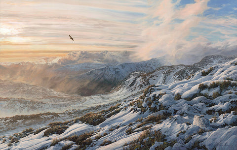 """Narrow Escape"" Golden Eagle & Mountain Hare Scottish winter landscape print"