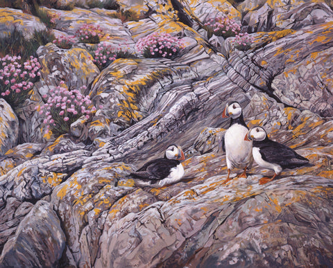 Trio of Puffin Print