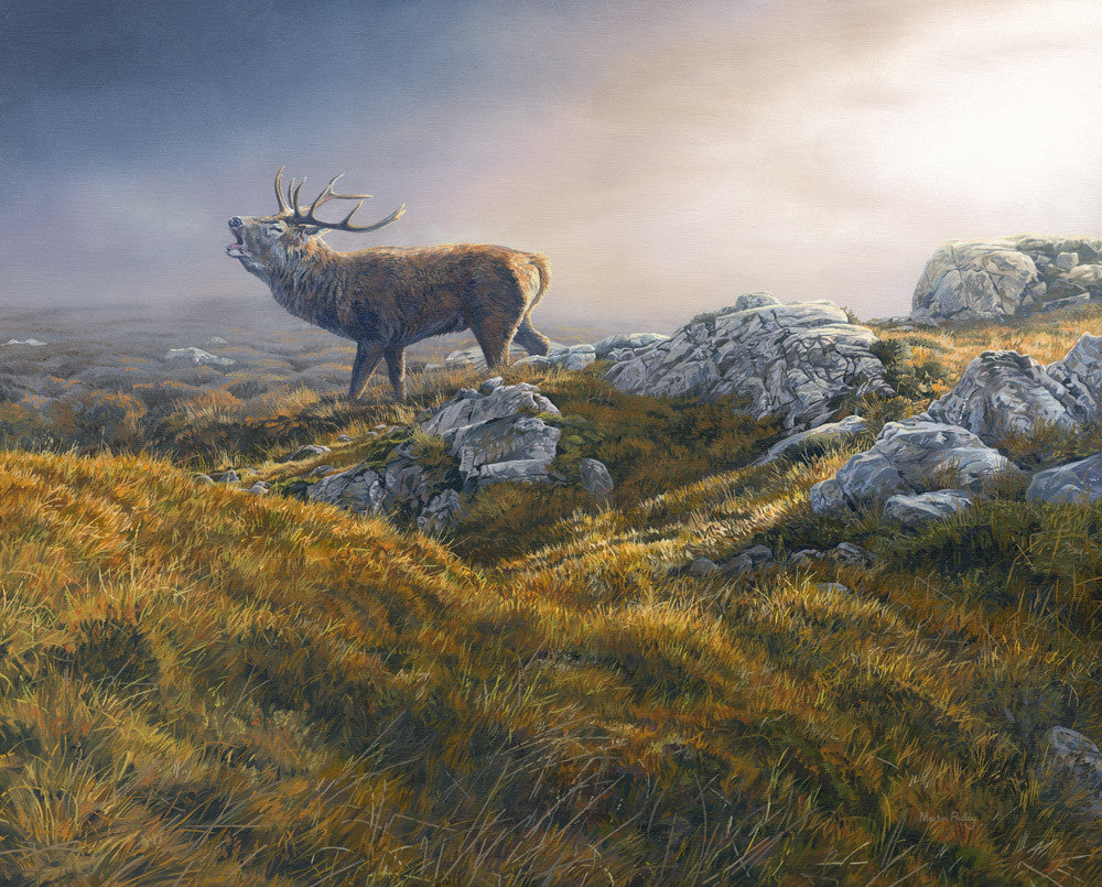 Roaring red stag artwork