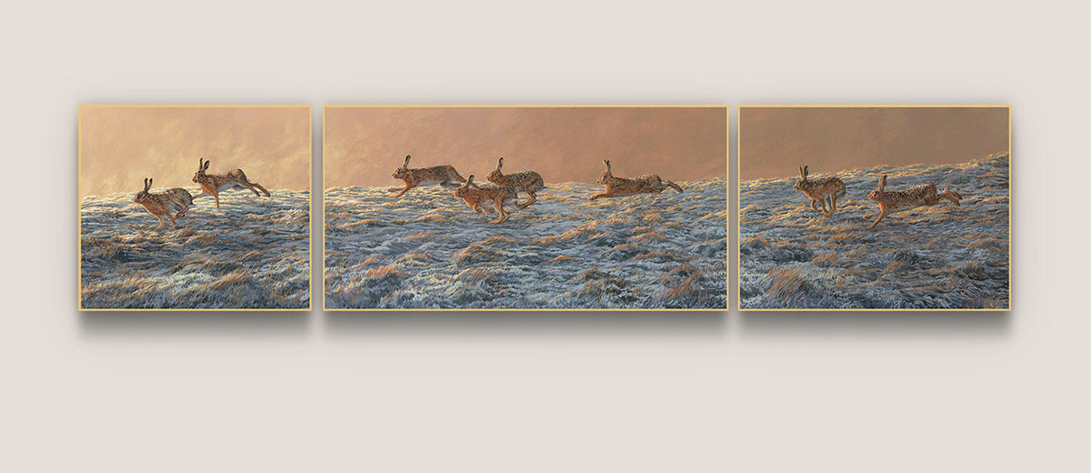 Picture of eight running brown hares in a triptych format