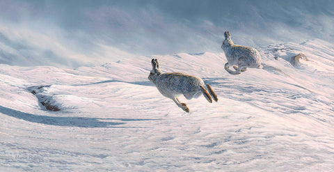 Running Blue Hares Print