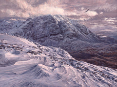 Print of the Scottish Mountain Slioch in winter.