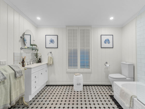 hamptons style bathroom renovation of queenslander worker's cottage