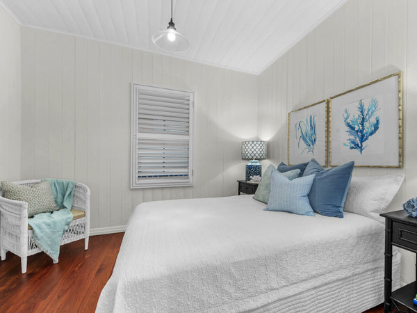 Hamptons style bedroom renovation in clayfield worker's cottage