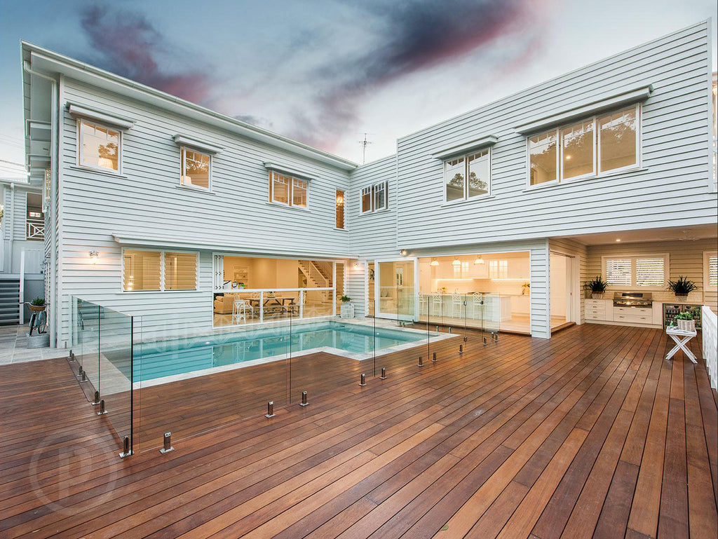Hamptons-style Brisbane home pool and deck