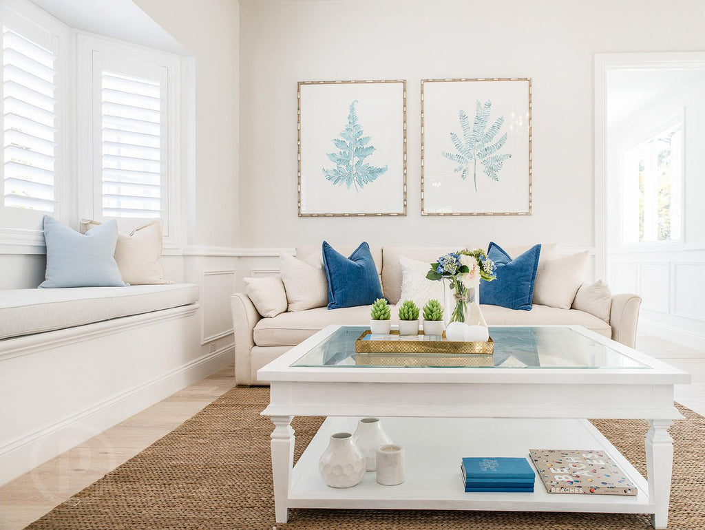 Pale blue Fern prints by artist Kerri Shipp in Hamptons-style house