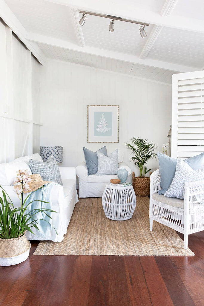 hamptons style living room in queenslander cottage