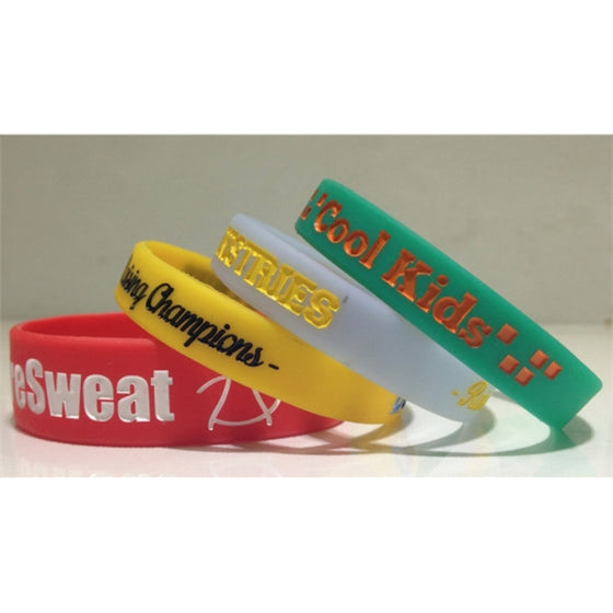 "WBIISOLID12 - Ink Injected 1/2"" Inch Solid Color Wristbands"