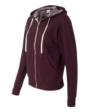 PRM90HTZ - Unisex French Terry Heathered Hooded Full-Zip Sweatshirt