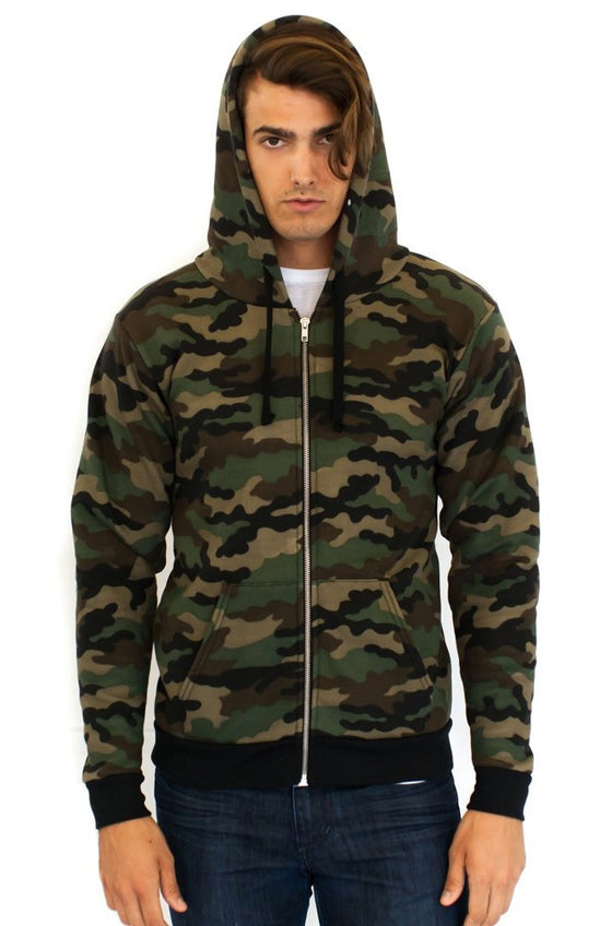 3510CMO - Unisex Camo Fleece Full Zip Hoody