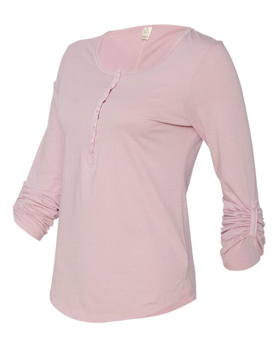 4016- Women's Rolled Sleeve Henley