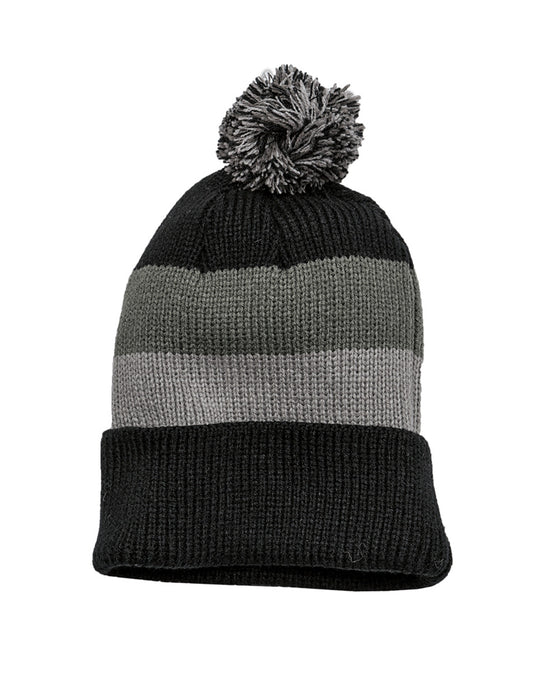 DT627 - Vintage Striped Beanie with Removable Pom