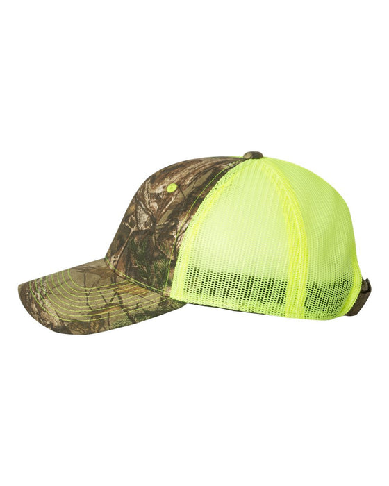 CNM100M- Camo Cap with Neon Mesh Back