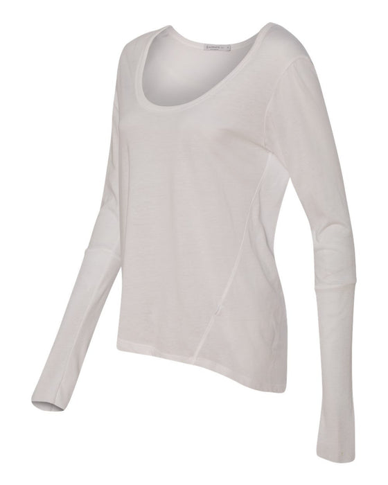 12528- Women's Satin Jersey Scoopneck Long Sleeve T-Shirt