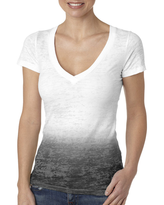6542 - Next Level Ladies' Ombre Burnout Crossover V-Neck Tee