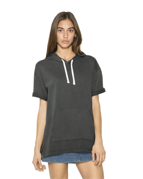 TF424W American Apparel - Unisex French Terry Garment Dyed Kangaroo Pocket S/S/ Hoodie